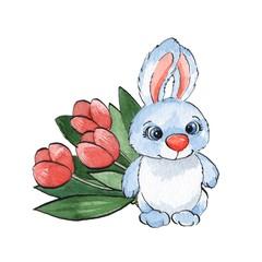 Cartoon rabbits. Watercolor illustration 22