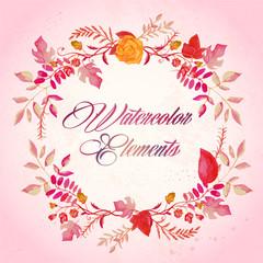 watercolor floral elements set - vector illustration