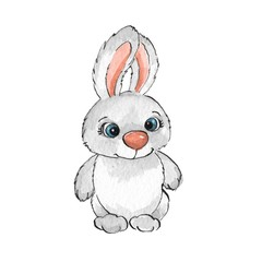 Cartoon rabbits. Watercolor illustration 30
