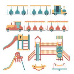 Set of play equipment for children: children's train, slide, swing, carousel. Children's playground.
