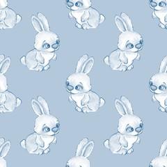 Cartoon rabbits. Watercolor seamless pattern 04