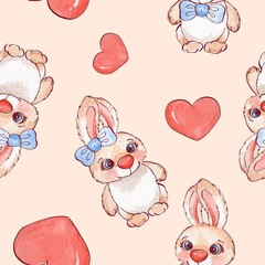 Cartoon rabbits. Watercolor seamless pattern 05