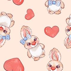 Cartoon rabbits. Watercolor seamless pattern 05