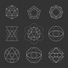 Sacred Geometry Shapes. Spirituality, Alchemy, Religion, Hipster