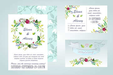 watercolor wedding invitation - illustration