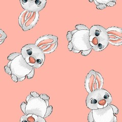 Cartoon rabbits. Watercolor seamless pattern 08