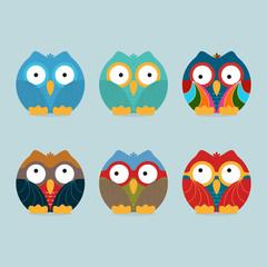 Funny frozen owls set