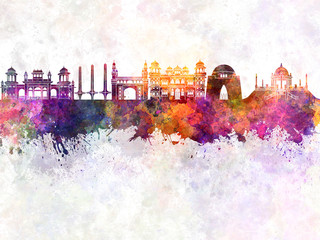 Wall Mural - Karachi skyline in watercolor background