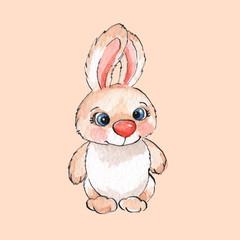 Cartoon rabbits. Watercolor illustration in vector 01