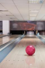 Bowling ball in bowling lane