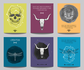 Canvas Prints Watercolor Skull Vector set of modern posters with human skulls, bull skulls, dragonflies, geometrical shapes. Trendy hipster style for flyers, banners, brochures, invitations, business contemporary design.
