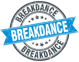 breakdance blue round grunge vintage ribbon stamp