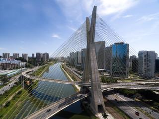 Estaiada Bridge and Skyscrapers in Sao Paulo, Brazil