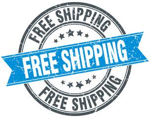 free shipping blue round grunge vintage ribbon stamp