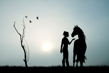 girl and horse in the fog