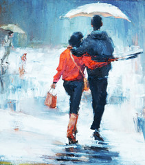 man and woman go under an umbrella, rear view, oil painting. a pair of lovers under an umbrella,