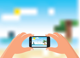 Taking photo of the beach by smart phone - flat design