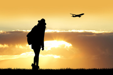 girl traveling silhouette at sunset