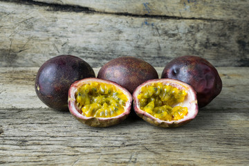 Passion fruit on wooden table
