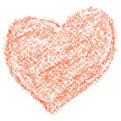 Crayon orange heart