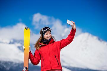 Young woman skiing