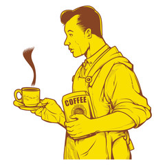 Vector illustration of man serving coffee. vintage coffee ink drawing.