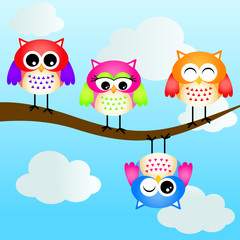 Lovely Owls Background