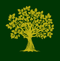 Green Trees. Vector Illustration.