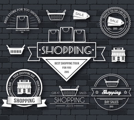 Shopping set label template of emblem element for your product or design, web and mobile applications with text. Vector illustration with thin lines isolated icons on stamp symbol