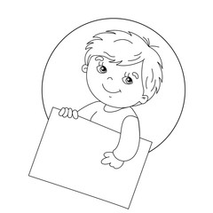 Coloring page outline of Cute boy holding a sign