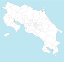 A large and detailed map of Costa Rica with all provincesa and cantones.