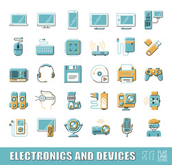 Set of electronic device icons. Vector illustration