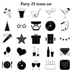 Party 25 simple icons set