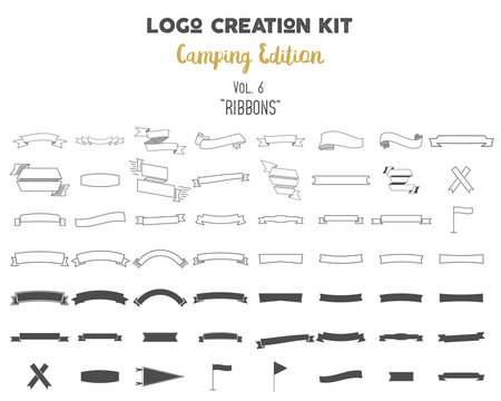 Logo creation kit bundle. Camping Edition set. Ribbons vector shapes and elements Create your own outdoor label, wilderness retro patch, adventure vintage badges, hiking stamps. Check out all volumes
