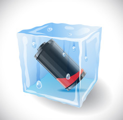 Ice cube with empty battery.  Illustration 10 version