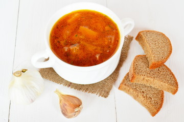 Soup, bread, garlic