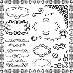 Victorian swirl elements set