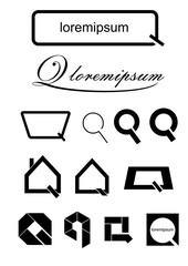 Stylized letter Q. Vector set of icons in the form of a stylized letter Q