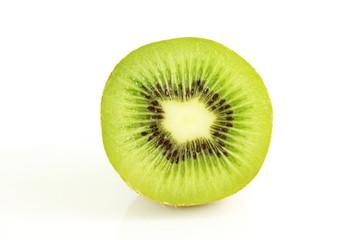 Kiwi fruit  slice isolated closeup on white background