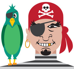 One eyed pirate with one eyed parrot on his shoulder