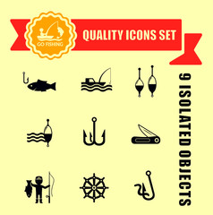 fishing guality icons set