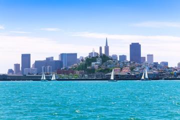 Wall Mural - yachts and downtown view of San Francisco
