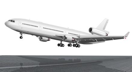 Passagierflugzeug mit Fahrwerk, freigestellt