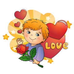 Cute boy with rose in hand with hearts on a white