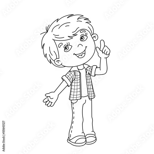 Coloring Page Outline Of Cartoon Boy With Great Idea