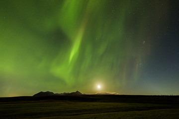 Fototapete - Northern Lights and the moon