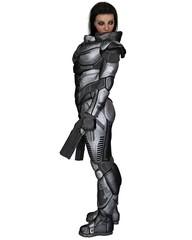 Future Soldier, Female Brunette, Standing - science fiction illustration