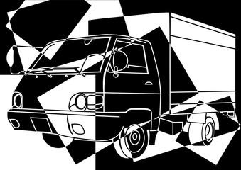Camion en noir et en blanc