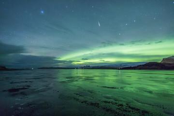 Fototapete - Northern Lights reflection on frozen lake