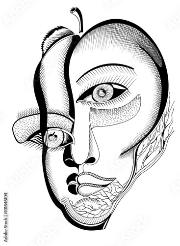 surreal hand drawing faces abstract template with black outlines